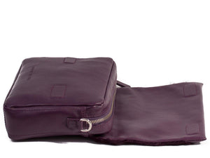 sherene melinda springbok hair-on-hide plum leather shoulder bag open