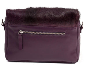 sherene melinda springbok hair-on-hide plum leather shoulder bag Stripe back