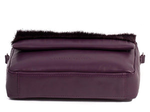 sherene melinda springbok hair-on-hide plum leather shoulder bag Stripe bottom