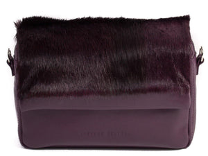 sherene melinda springbok hair-on-hide plum leather shoulder bag Stripe front