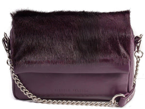 sherene melinda springbok hair-on-hide plum leather shoulder bag stripe front strap