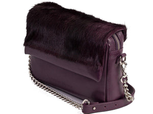 sherene melinda springbok hair-on-hide plum leather shoulder bag Stripe side angle strap