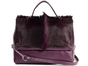 sherene melinda springbok hair-on-hide plum leather smith tote bag fan front strap