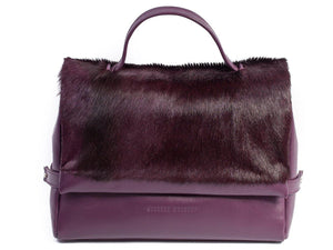 sherene melinda springbok hair-on-hide plum leather smith tote bag stripe  front