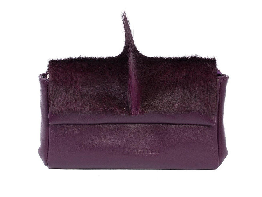 sherene melinda springbok hair-on-hide plum leather Sophy SS18 Clutch Bag fan front strap
