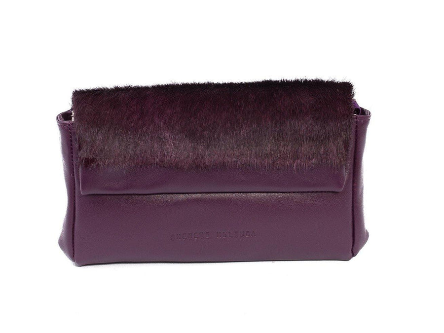 sherene melinda springbok hair-on-hide plum leather Sophy SS18 Clutch Bag stripe front strap