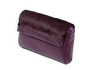 sherene melinda springbok hair-on-hide plum leather Sophy SS18 Clutch Bag Stripe side angle