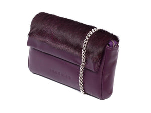sherene melinda springbok hair-on-hide plum leather Sophy SS18 Clutch Bag Stripe side angle strap