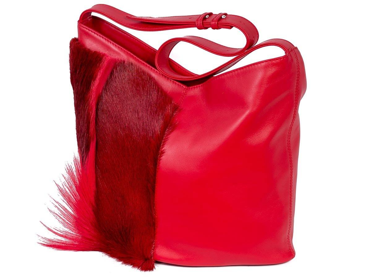 Hobo Springbok Handbag in Red with a Fan by Sherene Melinda Fan Front