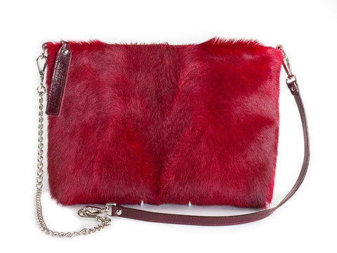 Red multiway leather clutch and shoulder bag - Haupt Bag