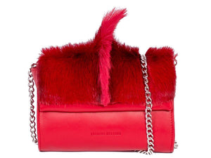 Mini Springbok Handbag in Red with a Fan by Sherene Melinda Front Strap