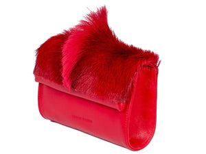Mini Springbok Handbag in Red with a Fan by Sherene Melinda Side Angle