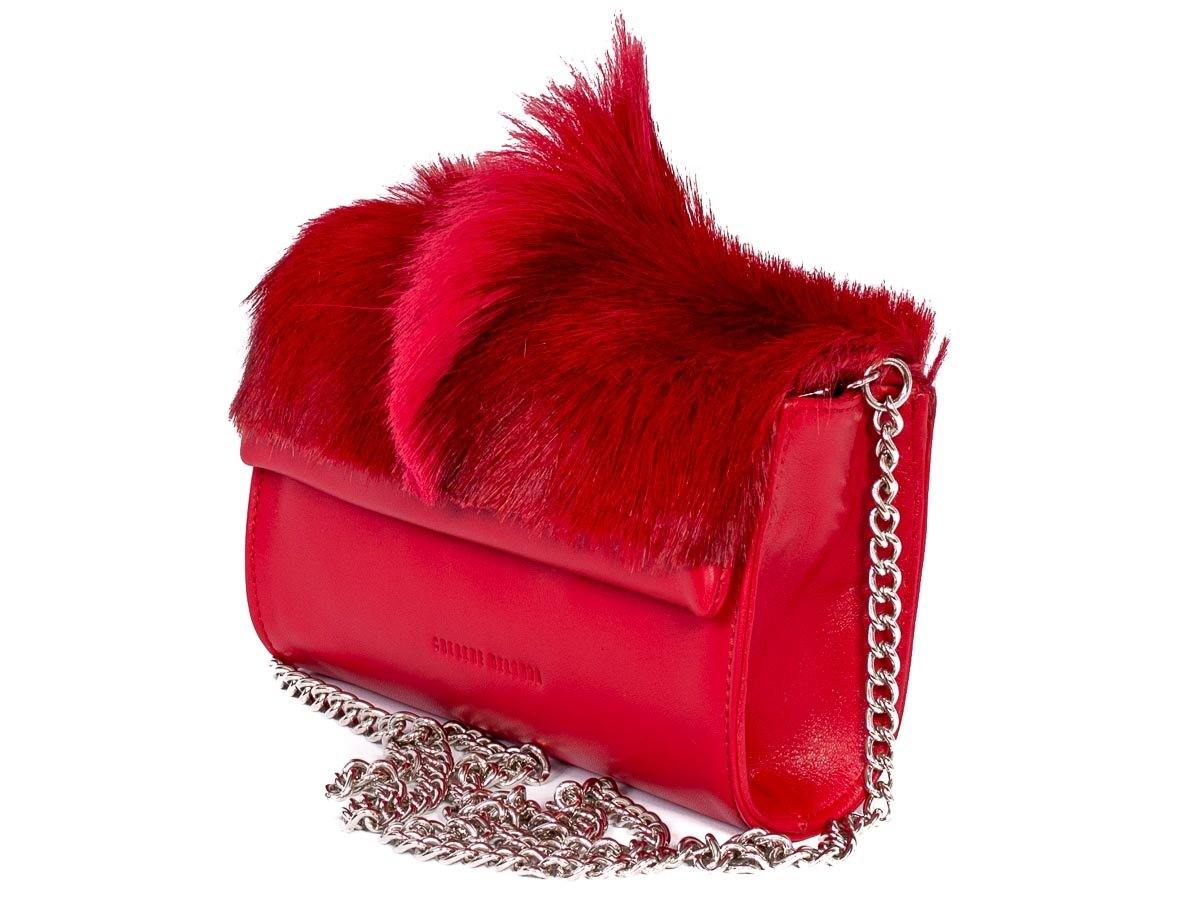 Mini Springbok Handbag in Red with a Fan by Sherene Melinda Side Angle Strap