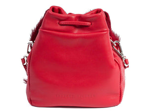 sherene melinda springbok hair-on-hide red leather pouch bag back