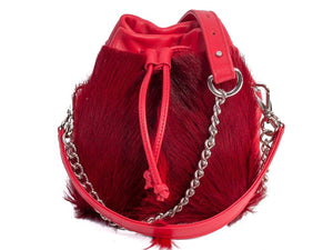sherene melinda springbok hair-on-hide red leather pouch bag fan front strap