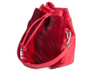 sherene melinda springbok hair-on-hide red leather pouch bag Fan side angle