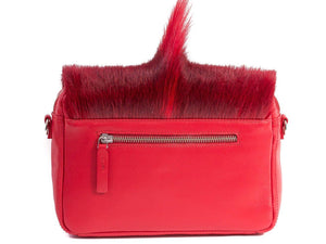 sherene melinda springbok hair-on-hide red leather shoulder bag Fan back