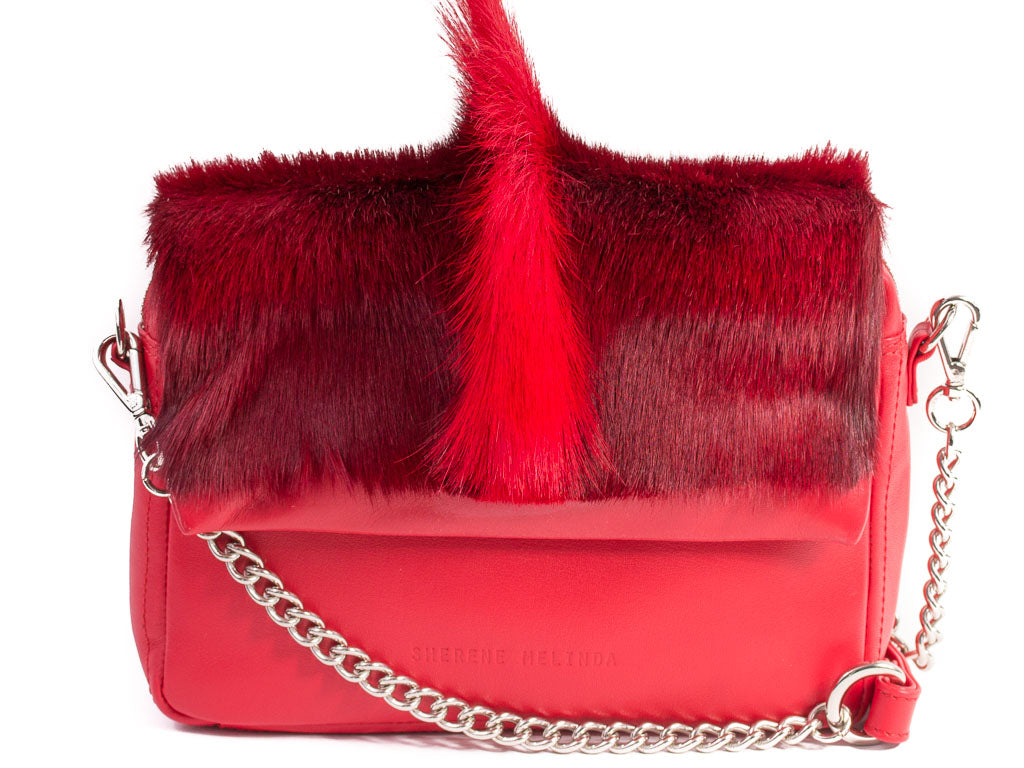 Red Shoulder Bag with a fan