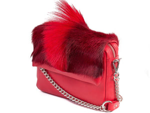 sherene melinda springbok hair-on-hide red leather shoulder bag Fan side angle strap