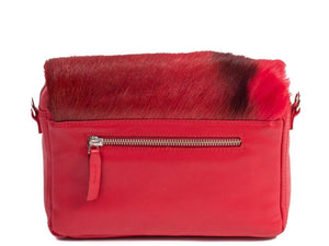 sherene melinda springbok hair-on-hide red leather shoulder bag Stripe back