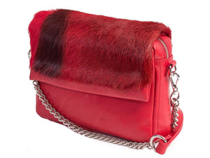 sherene melinda springbok hair-on-hide red leather shoulder bag Stripe side angle strap