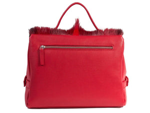 sherene melinda springbok hair-on-hide red leather smith tote bag Fan back