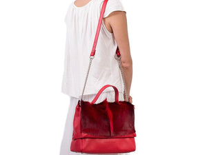 sherene melinda springbok hair-on-hide red leather smith tote bag fan context