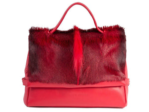 sherene melinda springbok hair-on-hide red leather smith tote bag Fan front