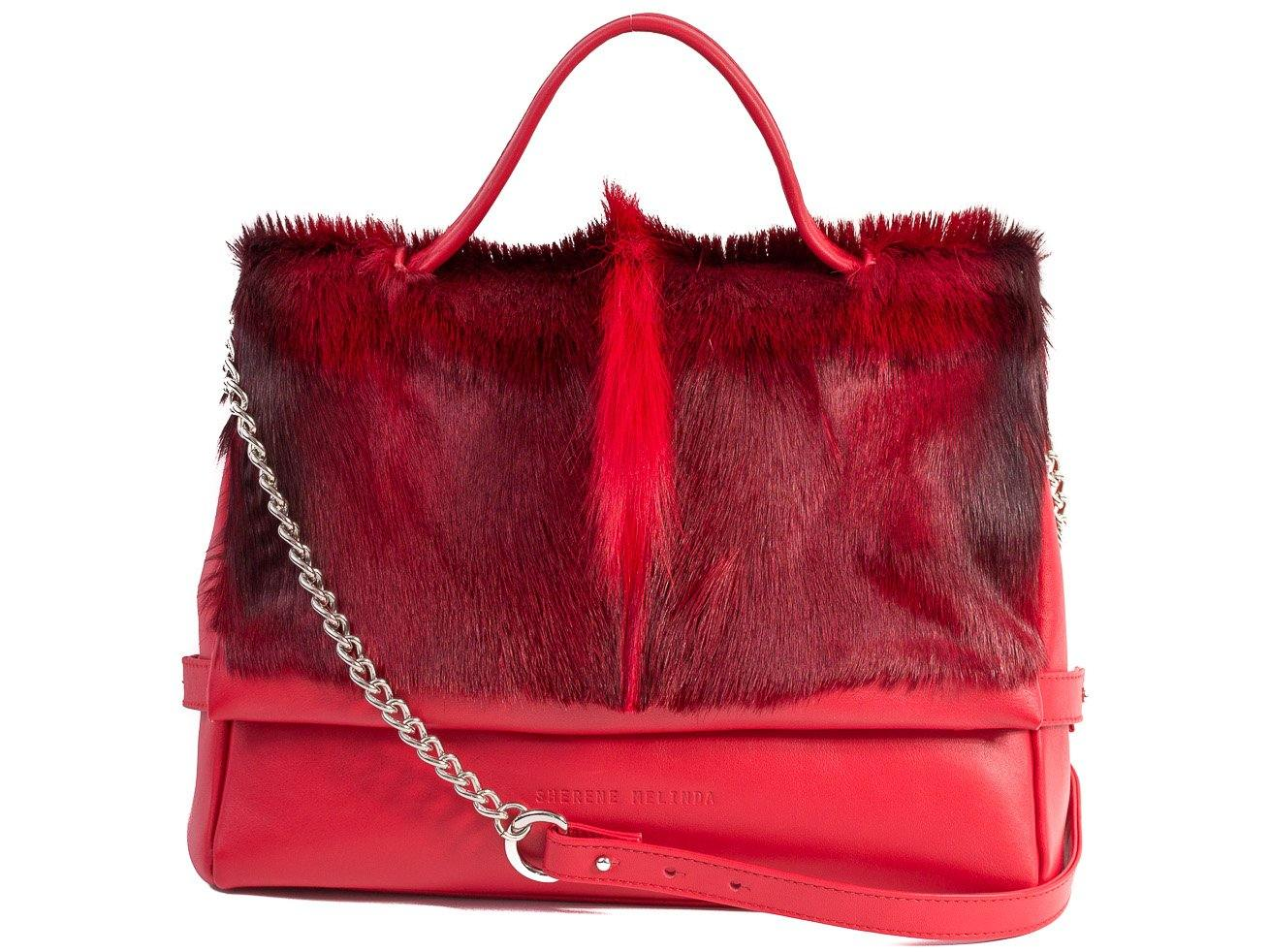 sherene melinda springbok hair-on-hide red leather smith tote bag fan front strap