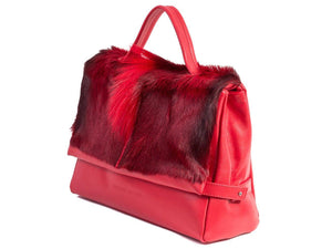 sherene melinda springbok hair-on-hide red leather smith tote bag Fan side angle
