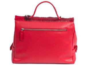 sherene melinda springbok hair-on-hide red leather smith tote bag Stripe back