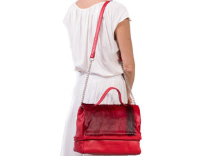 sherene melinda springbok hair-on-hide red leather smith tote bag stripe context