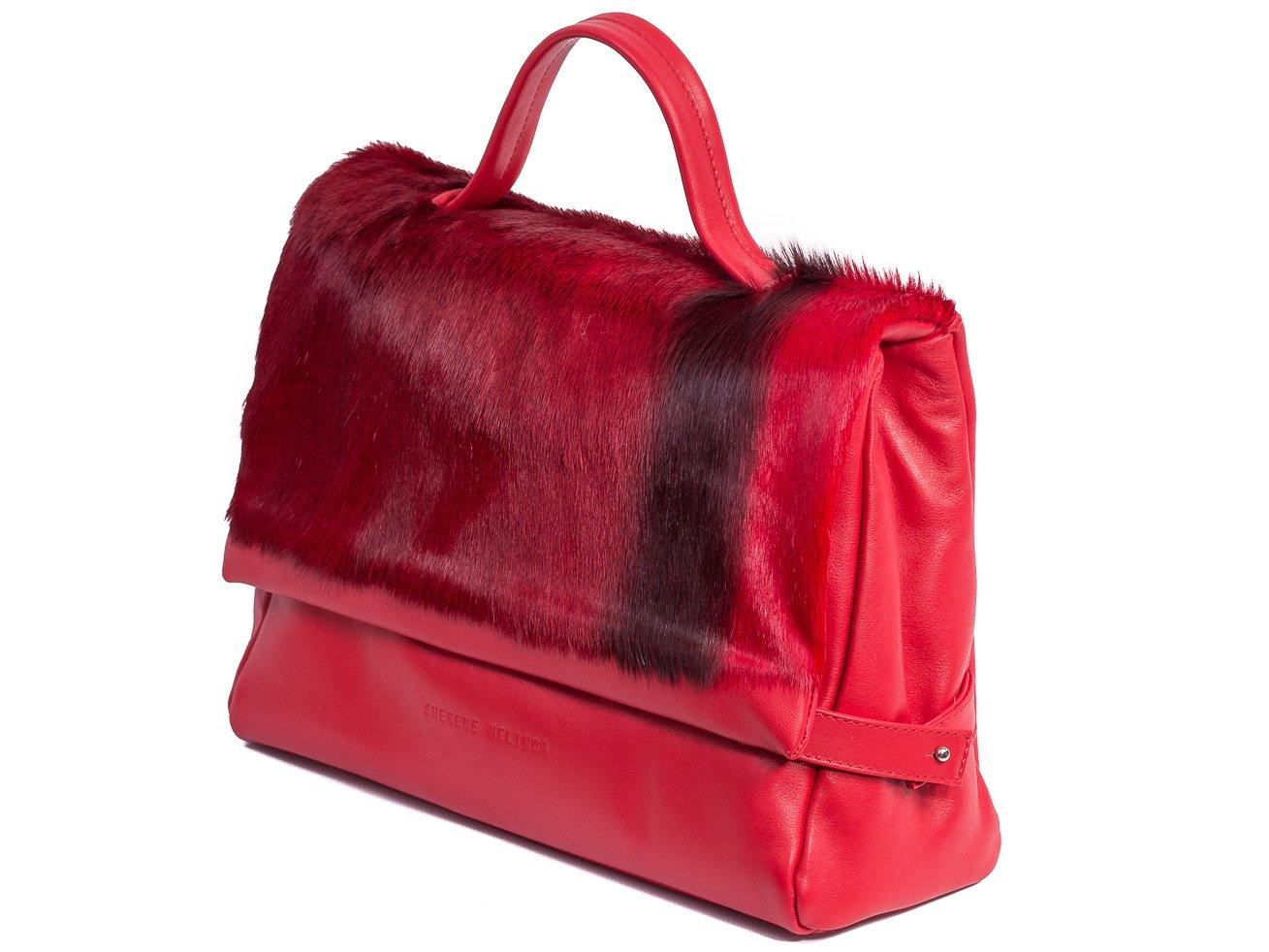 sherene melinda springbok hair-on-hide red leather smith tote bag stripe front strap