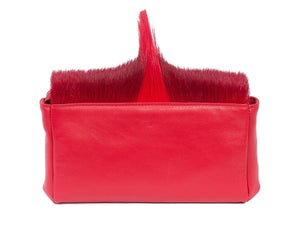 sherene melinda springbok hair-on-hide red leather Sophy SS18 Clutch Bag Fan back