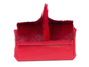 sherene melinda springbok hair-on-hide red leather Sophy SS18 Clutch Bag Fan front