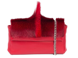 sherene melinda springbok hair-on-hide red leather Sophy SS18 Clutch Bag fan front strap