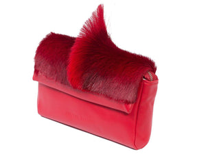 sherene melinda springbok hair-on-hide red leather Sophy SS18 Clutch Bag Fan side angle