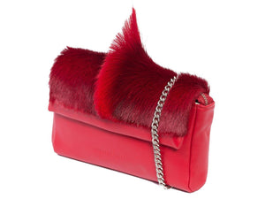sherene melinda springbok hair-on-hide red leather Sophy SS18 Clutch Bag Fan side angle strap