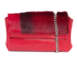 sherene melinda springbok hair-on-hide red leather Sophy SS18 Clutch Bag stripe front strap