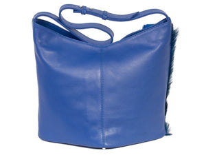 Hobo Springbok Handbag in Royal Blue with a Fan by Sherene Melinda Fan Back
