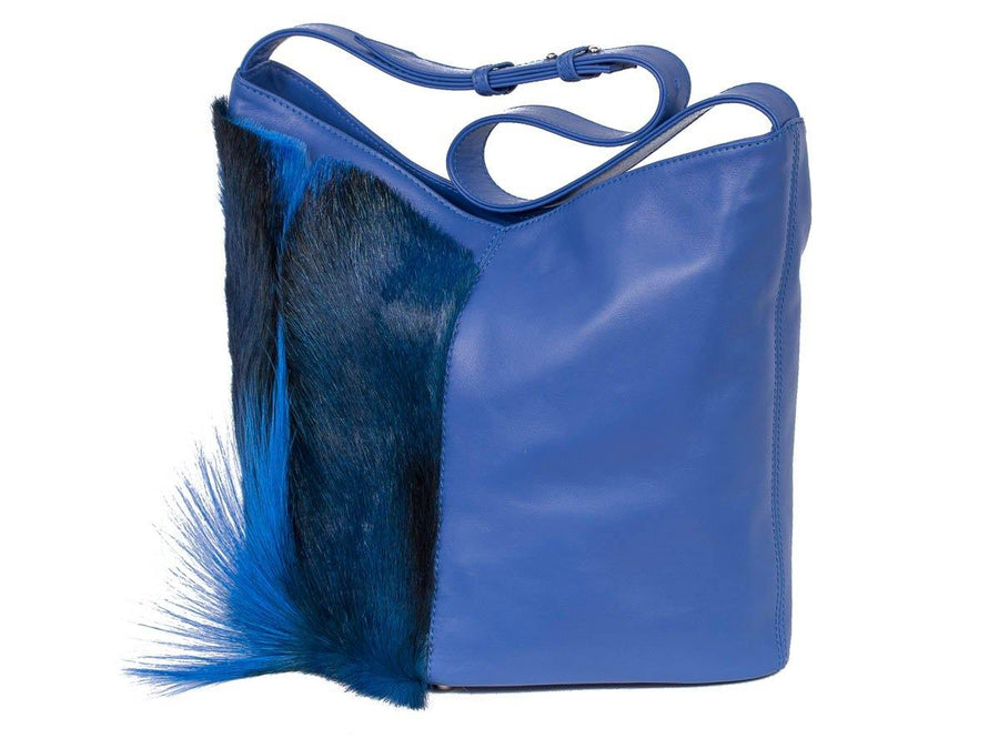 Hobo Springbok Handbag in Royal Blue with a Fan by Sherene Melinda Fan Front