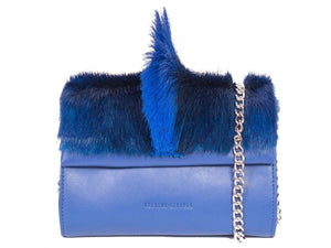 Mini Springbok Handbag in Royal Blue with a Fan by Sherene Melinda Front Strap