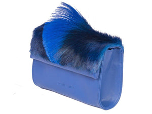 Mini Springbok Handbag in Royal Blue with a Fan by Sherene Melinda Side Angle