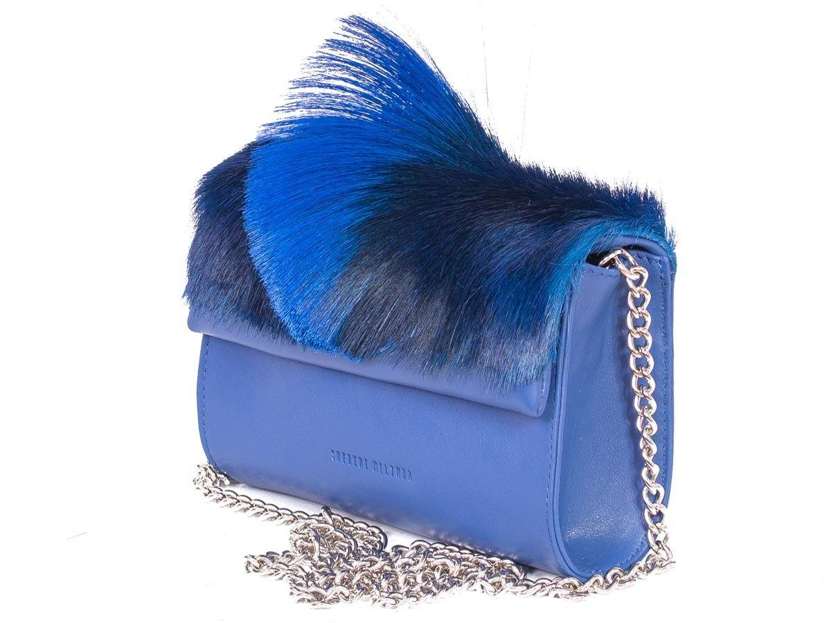 Mini Springbok Handbag in Royal Blue with a Fan by Sherene Melinda Side Angle Strap
