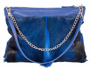 Multiway Springbok Handbag in Royal Blue with a Fan by Sherene Melinda Front Strap