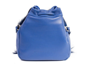 sherene melinda springbok hair-on-hide royal blue leather pouch bag back