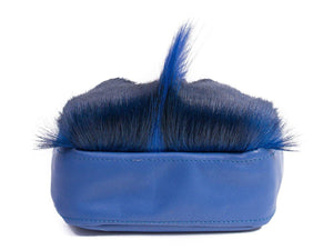sherene melinda springbok hair-on-hide royal blue leather pouch bag Fan bottom