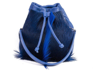 sherene melinda springbok hair-on-hide royal blue leather pouch bag Fan front