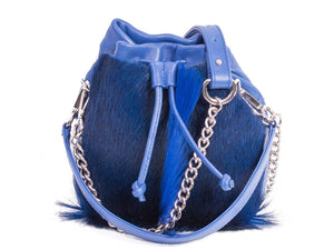 sherene melinda springbok hair-on-hide royal blue leather pouch bag fan front strap