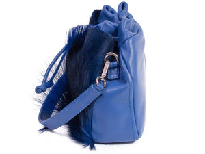 sherene melinda springbok hair-on-hide royal blue leather pouch bag Fan side